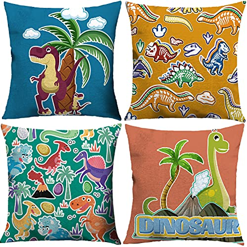 Xinzistar Kid Toddler Pillowcases 4 Pack Dinosaur Cushion Cover for Boys Dinosaur Throw Pillow Covers Decorative Pillowcase Double Sides Pattern 18x18 Decor for Sofa Bedroom Living Room Patio