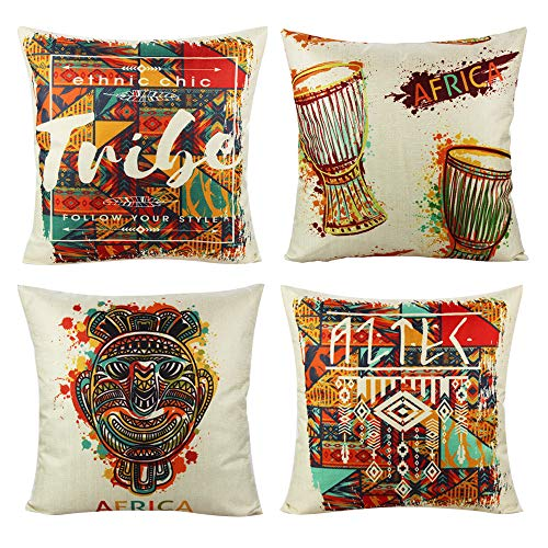 VAKADO Decorative Ethnic African Indians Style Cushion Covers Outdoor Multicolor Drum Totem Mask Decor Pillowcases for Home Bedroom Set of 4, 18X18