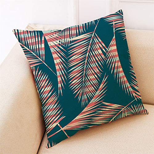 Mennzzs Cushion Covers 35x35cm/14x14inch Square Throw Pillow Case,Linen Cotton Cushion Covers with Invisible Zipper Decorative Cushion Covers for Sofa Bedroom( Tropical plants B2127)