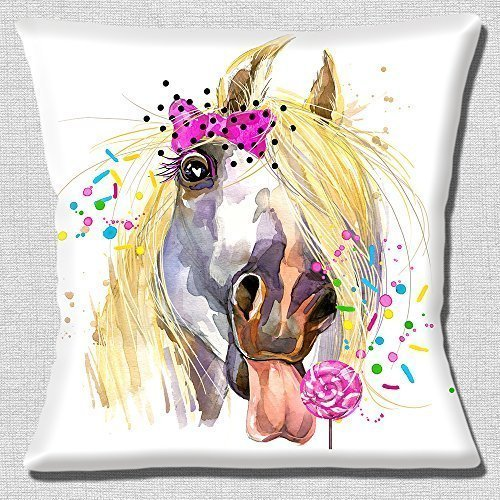 Funny Horse Lollipop Pink Bow Artistic Modern Design - 16' (40cm) Pillow Cushion Cover