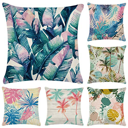 Polyester Throw Pillow Case,Decorative Square Cushion Cover 18' x 18'(Cover Only,No Insert) (6 Pack Tropical plants 3)
