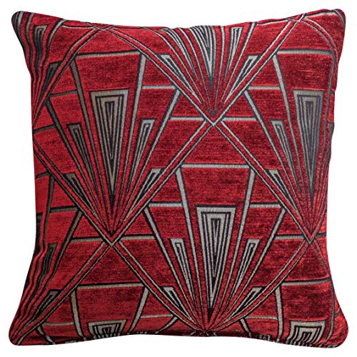 Art Deco Cushion Cover. Double Sided Luxury Velvet Chenille. Red Silver Retro Design. 17'x17' Square Pillow. Geometric bold design. 20s and 30s style. Handmade in the UK.
