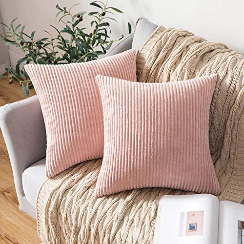 MIULEE Set of 2 Striped Corduroy Square Throw Pillow Case Soft Cushion Covers Sham Home for Sofa Couch/Bedroom Decorative Fluffy Large Pillowcases 18x18 Inch 45x45cm Pink