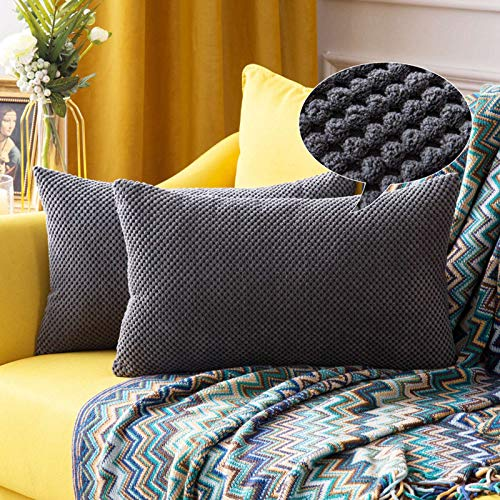 MIULEE Corduroy Granule Fabric Square Throw Pillow Case Solid, Cushion Cover Sham Home for Sofa Chair Couch Bedroom Decorative Pillowcases 12x20 inch 30x50cm 2 Pieces Grey