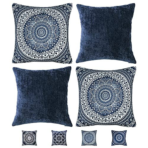 UKHP Mandala Cushion Covers Decorative Set of 4 Square Navy Blue Throw Pillow Covers for Couch, Sofa, Living Room 45x45 cm 18x18 inch, BY-1