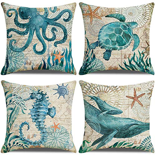 LAXEUYO Pack of 4 Cushion Covers, Turtles Seahorses Whales Octopus Pattern Cotton Linen Decorative Throw Pillow Covers Pillow Cases for Sofa 18x18 inches