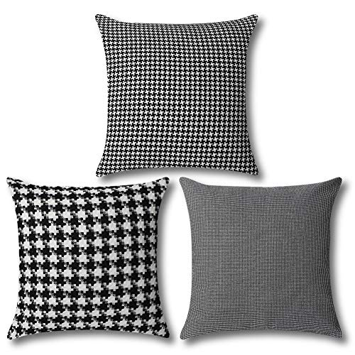 Artscope Set of 3 Vintage Cushion Covers 45x45cm, Traditional Houndstooth Pattern, Black and White Retro Plaid Soft Throw Pillow Covers for Sofa Couch Home Decor (Black)