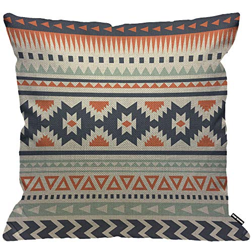 HGOD DESIGNS Cushion Cover Ethnic Aztec Ethnic Pattern Design Throw Pillow Cover Home Decorative for Men/Women/Boys/Girls living room Bedroom Sofa Chair 18X18 Inch Pillowcase