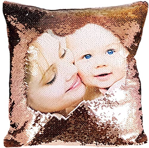 Personalised Sequin Cushion Cover Magic Reveal Printed Photo Gift Custom Made SEQUIN + FREE FILLING (CHAMPAGNE/WHITE)