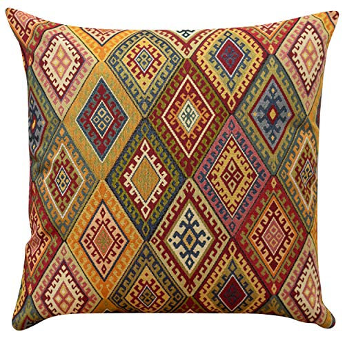Linen Loft Extra Large Vintage Kilim Style Cushion Cover. 23x23 (58cm) Square. Classic Traditional Turkish Style Woven Geometric Tapestry Diamond Pattern.