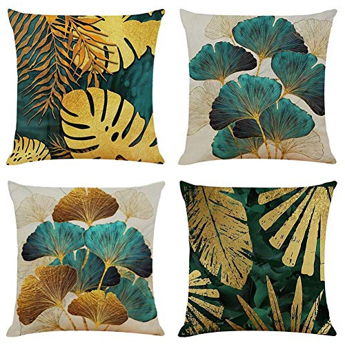 BCKAKQA Throw Pillow Cases Pack of 4 Green and Gold Leaves Cushion Covers 18x18 inch Linen Square Throw Pillow Covers for Living Room Sofa Couch Bed Pillowcases 45cm x 45cm