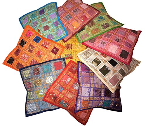 PUSHPACRAFTS Indian Vintage Home Decor Cotton Square Cushion Shell Cover With Embroidery & Patchwork, 41 X 41 Cm, 10 Pcs Lot (Multi-10 Pcs)