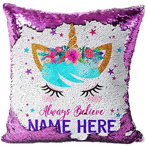 KRAFTYGIFTS Personalised UNICORN Magic Reveal Cover Sequin Cushion Mermaid Case PINK KC55