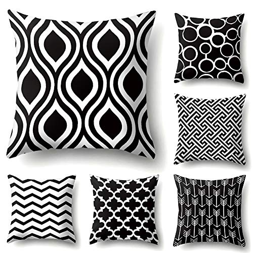 JOTOM Modern Simple Geometric Super Soft Throw Pillow Case Covers for Couch Sofa Bed Outdoor Pillowcase Cushion Covers Home Decorative 45X45cm,Set of 6 (Black and White Pattern)