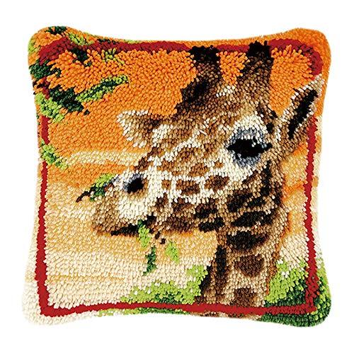 Myriad Choices Latch Hook Kit Pillowcase Embroidery Kits Cushion Cover for Home Decor, Giraffe, 43 X 43 cm (BZ-240)