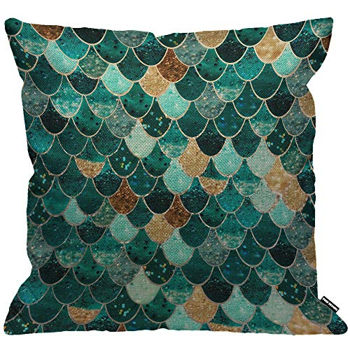 HGOD DESIGNS Cushion Cover Mermaid with Sequin Teal Mermaid Scales Throw Pillow Cover Home Decorative for Men/Women/Boys/Girls Living Room Bedroom Sofa Chair 18X18 Inch Pillowcase