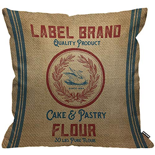 HGOD DESIGNS Cushion Cover Vintage Burlap Like Flour Sack Throw Pillow Cover Home Decorative for Men/Women/Boys/Girls living room Bedroom Sofa Chair 18X18 Inch Pillowcase