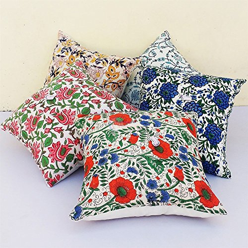 Traditional Jaipur Set of 5 Block Print Fabric Indian Cushions Pillow Covers Decorative Throw Pillowcases Handcrafted Outdoor Cushion Cover Boho Pillow Shams (20 x 20 inches)