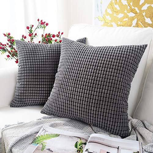 MERNETTE Pack of 2, Corduroy Soft Decorative Square Throw Pillow Cover Cushion Covers Pillowcase, Home Decor Decorations For Sofa Couch Bed Chair 16x16 Inch/40x40 cm (Granules Dark Grey)