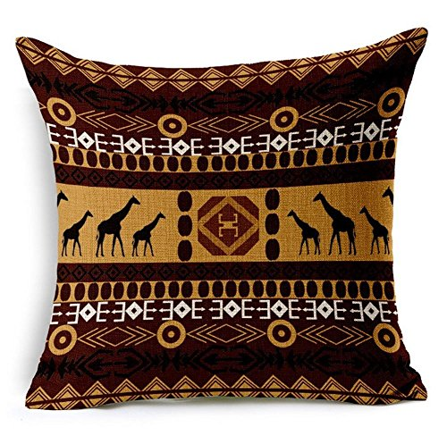 G.T. Cotton Linen African Ethnic Style Stripe Print Throw Pillow Case Cushion Cover 18 X 18 Inch