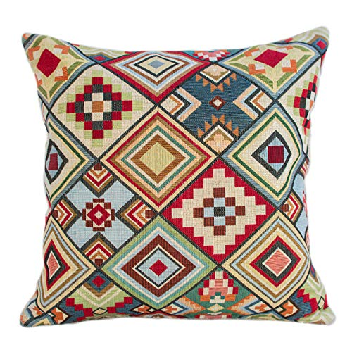 Geometric Tapestry Double Sided Cushion Cover. Multicoloured Red Blue Green Yellow Triangular Aztec Patten. 17'x17' Square Pillow Case. Kilim Style Fabric