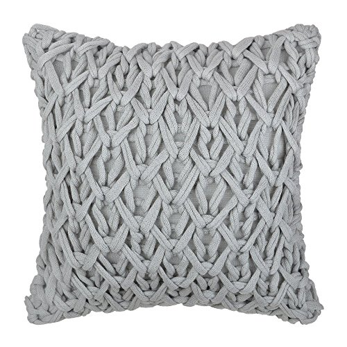 KINGROSE Handmade Cable Knit Accent Throw Pillow Cases Square Decorative Cushion Covers Home Living Room Sofa Car Bed Room Office Chair 18 x 18 Inches Light Gary