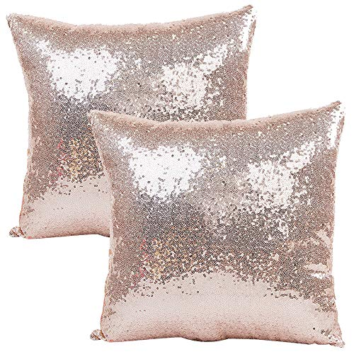 JOTOM Solid Color Glitter Sequins Pillow Case Cover,Square Cushion Covers for Sofa Car Home Decor,40x40cm,Set of 2 (Sequin Rose Gold)