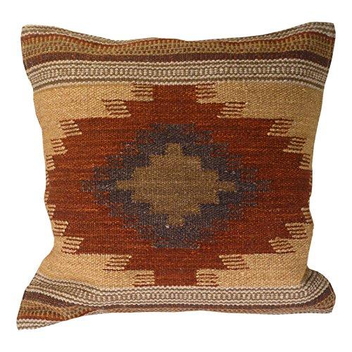 Indian Arts Fair Trade Kilim Cushion Covers Handmade on Handlooms using 80/20 wool/cotton and Natural Dyes Almora (45 x 45)