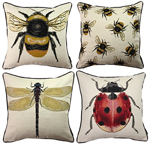 McAlister Textiles Set of 4 Bug's Life Filled Cushion Covers | Fun Tapestry Elegant Throw Pillow for Bedroom Sofa Living Rooms | Measurement - 17' 43cm