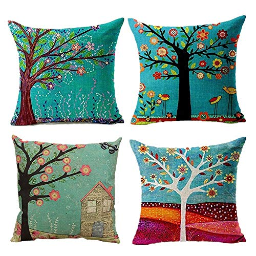 Hangood Cotton Linen Throw Pillow Case Cushion Covers Tree of Life 20 x 20 inches Set of 4pcs