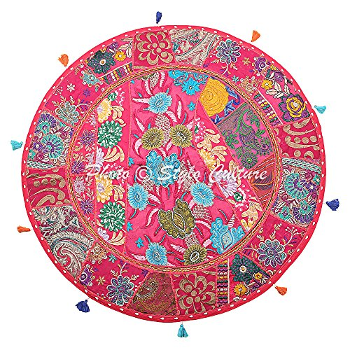Stylo Culture Indian Bohemian Floor Cushion For Adults Reading Corner Throw Pillow Cover Pink 80cm x 80cm Vintage Patchwork Round Large 32 Inch Hallway Cotton Embroidered Seating Pouffe Cover