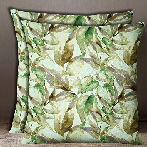 S4Sassy 1 Pair Leaf Print Green Cotton Poplin Square Indian Sofa Cushion Cover Throw-12 x 12 Inches