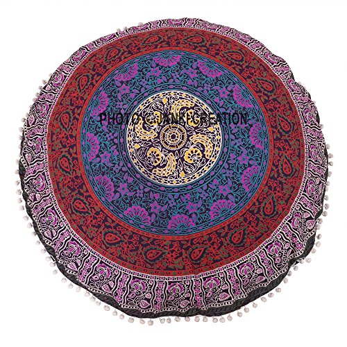 Work Of 6 print Colour Mandala Round Multi Only One Round Cushion Cover, 32X32,Filler not Included,Pillow Seating for Dogs Ottoman Throw Decorative Zipped Bohemian Pouf,Yoga Decor Floor Cushion case