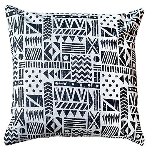 Linen Loft Monochrome Navajo Print Cushion Cover. Block-Print Patchwork Abstract Design in Black and White. 17x17 Square. Cover Only.