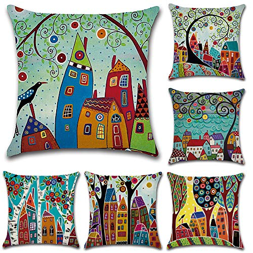 HuifengS Linen Throw Cushion Pillow Covers Square Pillowcase Rural Style Decorative for Sofas Beds Chairs Cushion Cover Set of 6, 18 x 18 Inch
