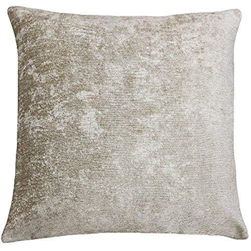 Riva Paoletti Hampton Square Cushion Cover - Stone Beige - Metallic Chenille Style Fabric - Hidden Zip Closure - Knife Edging - 100% Polyester - 50 x 50cm (20' x 20' inches) - Designed in the UK
