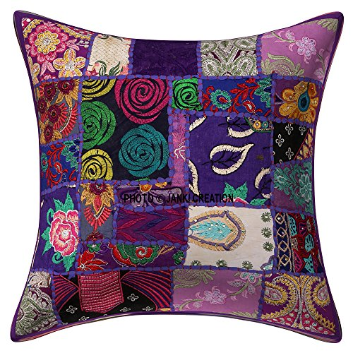 Beautifully Embroidery Ethnic Sequin Patchwork Traditional Pillow Cases Cushion Cover Indian Traditional Handmade Decorative Cushion Covers Patchwork 20 X 20 Inch Indian Pillow Case Bohemian Cushion