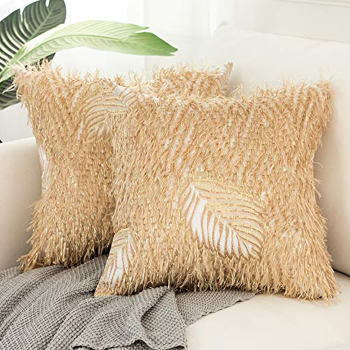 Yeadous Gold Cushion Covers for Sofa Couch, Bright Stripes and Plush Luxury Decorative Leaf Embroidered Pillowcase, 18x18 inches, 45x45 cm, Set of 2