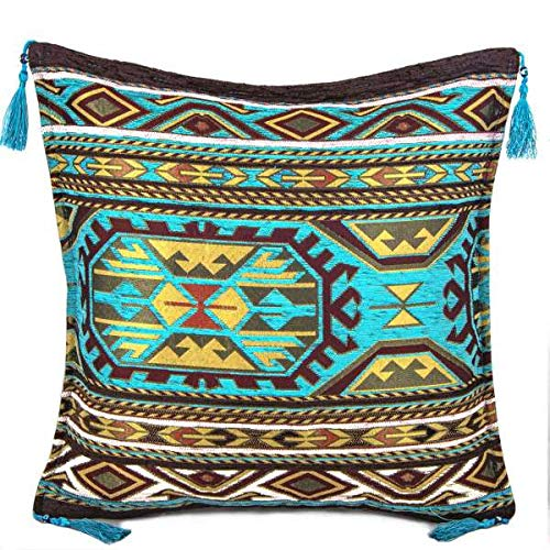 A Kilim Cushion Cover Turkish Moroccan Style Traditional Cushion Cover Turquoise Tasseled Design 45cm x 45cm
