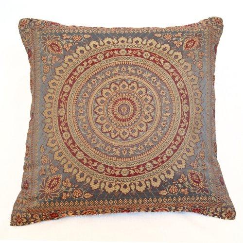 Designs Emporium 15' Mandala Brocade Faux Silk Cushion Cover Grey