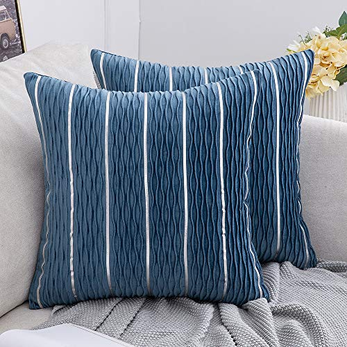 MIULEE Decorative Cushion Cover Rectangle Velvet Throw Pillows Jacquard 3D Wave and Silver Stripe Bars Home for Sofa Bedroom Living Room Light Blue 45 x 45cm 18 x 18 Inch Set of 2