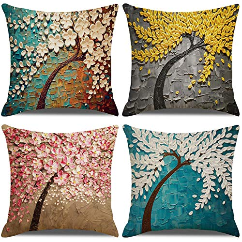 LAXEUYO Pack of 4 Cushion Covers, Spring Farmhouse Countryside Oil Painting Tree Pattern Cotton Linen Decorative Throw Pillow Covers Pillow Cases for Sofa 18x18 inches