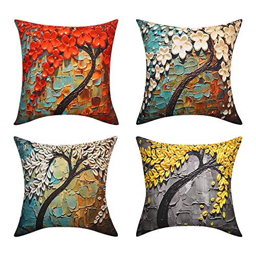 Lewondr Linen Cushion Cover, Set of 4 Soft Breathable Wrinkle-resistant Pillowcase with Colorful Printed Pattern Throw Pillow Case Sham for Sofa Bed Seat 18'x18'(45x45cm), Wonder Forest