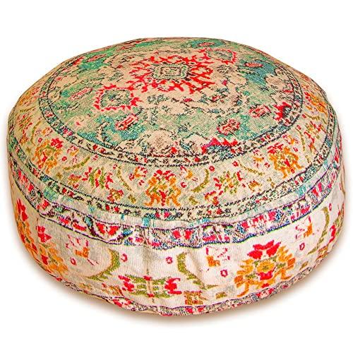 Mandala Life ART Bohemian Yoga Decor Floor Cushion Cover - 60x20 cm - Round Meditation Carpet Pillow Case - Printed Cotton Rug Pouf