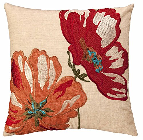 43 cm Cushion Cover Embroidered Flower Design in Colours of RED, Green, Orange and Yellow Easy Care (Bermuda 33105/6/7) (RED/Orange (33107))