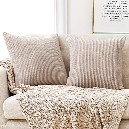 Deconovo Set of 2 Super Soft Corduroy Large Cushion Covers 55cm x 55cm, 22x22 Inches Grid Throw Pillowcases, Square Pillow Casess Cushion Covers for Dining Chairs(Beige, 2 Pieces)