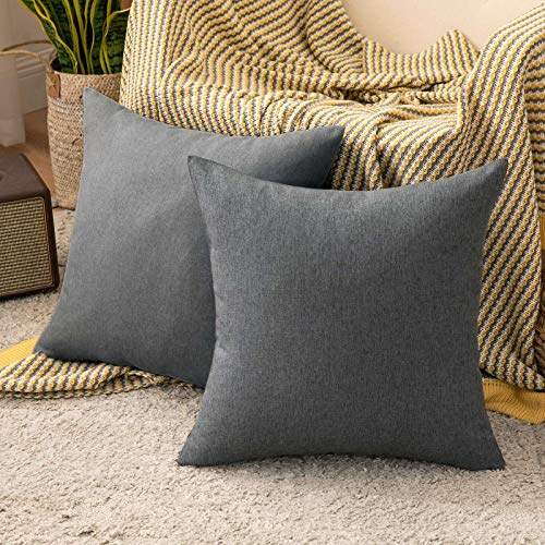 MIULEE Cushion Covers 16x16 Inches Set of 2 Decorative Throw Pillow Covers for Furniture Patio Couch Sofa Bed Linen Balcony Outside Cushions for Waterproof Garden, 40x40 cm Dark Grey