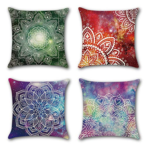 JOTOM Cushion Covers Mandala Throw Cushion Pillow Covers Square Pillowcase Home Decorative for Office Sofa Bed Cushion Cover Set of 4,45x45cm (Mandala)