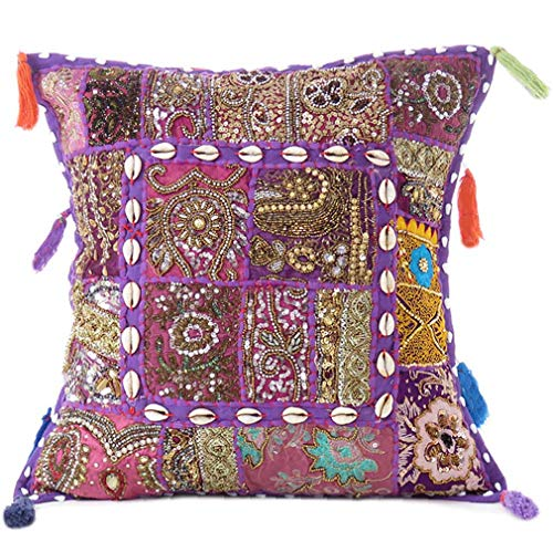 Eyes of India - 16' Purple Patchwork Colorful Decorative Couch Sofa Pillow Cover Case Cushion Throw Boho Chic Indian Bohemian Accent Handmade COVER ONLY