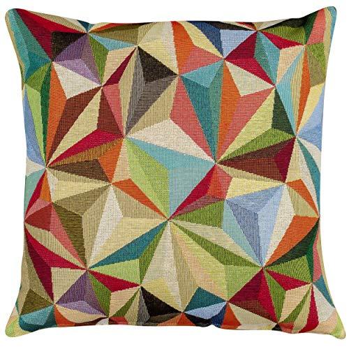 Linen Loft Retro Carnival Harlequin Tapestry Cushion Cover. Bright Multicoloured Vintage Inspired Design. Double Sided. 17x17 (43cm) Pillowcase.